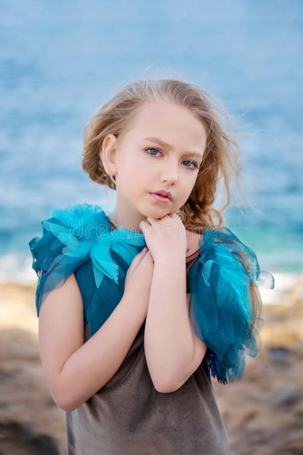 Young girl cute dolly blonde model posing for close portrait stock images