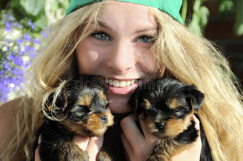young girl with cute puppies stock image