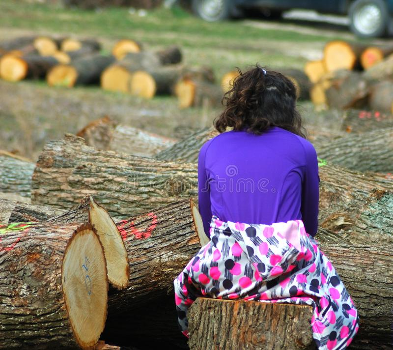 Young girl between cutted tree royalty free stock image