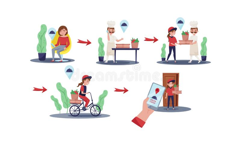 Young Girl Delivering Restaurant Food Vector Illustrations Set stock illustration