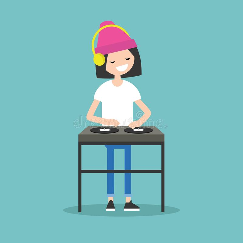 Young girl DJ wearing headphones and scratching a record on the. Turntable / flat editable vector illustration vector illustration