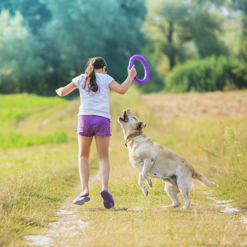 A young girl with a dog runs along a country road. In a field in summer. The girl holds in her hand a ring for training stock image