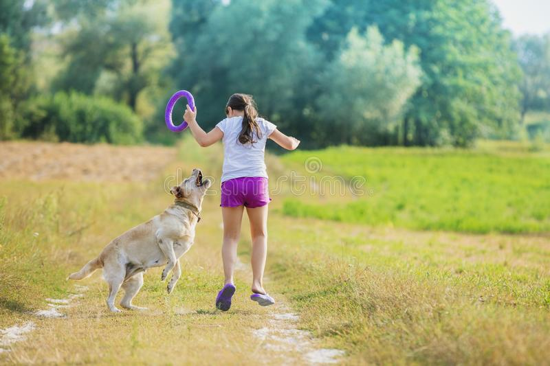 A young girl with a dog runs along a country road. In a field in summer. The girl holds in her hand a ring for training stock images