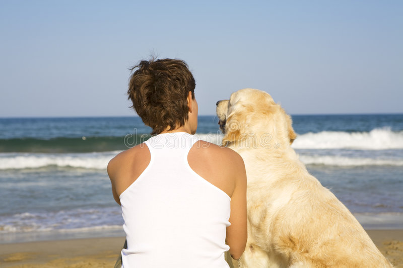 Download Young Girl And A Dog Sitting Stock Image - Image: 5122169