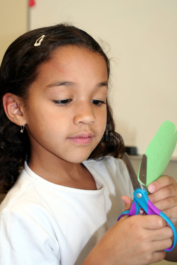 Young Girl Doing Crafts royalty free stock photo