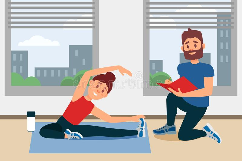 Young girl doing exercise sitting on floor. Coach writing notes in folder. Fitness gym interior with big windows. Flat vector illustration