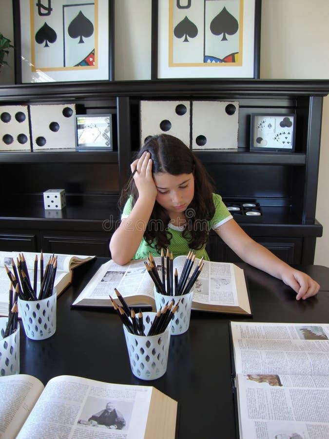 Young Girl Doing Homework stock photography