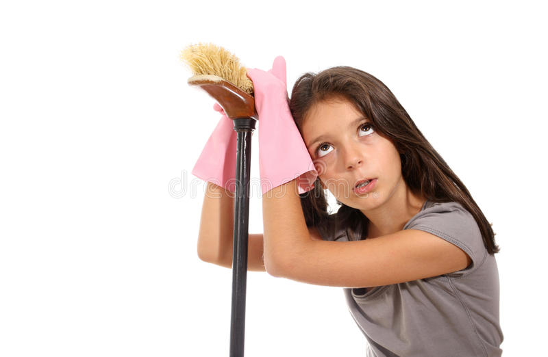 Young girl doing the housework stock photos