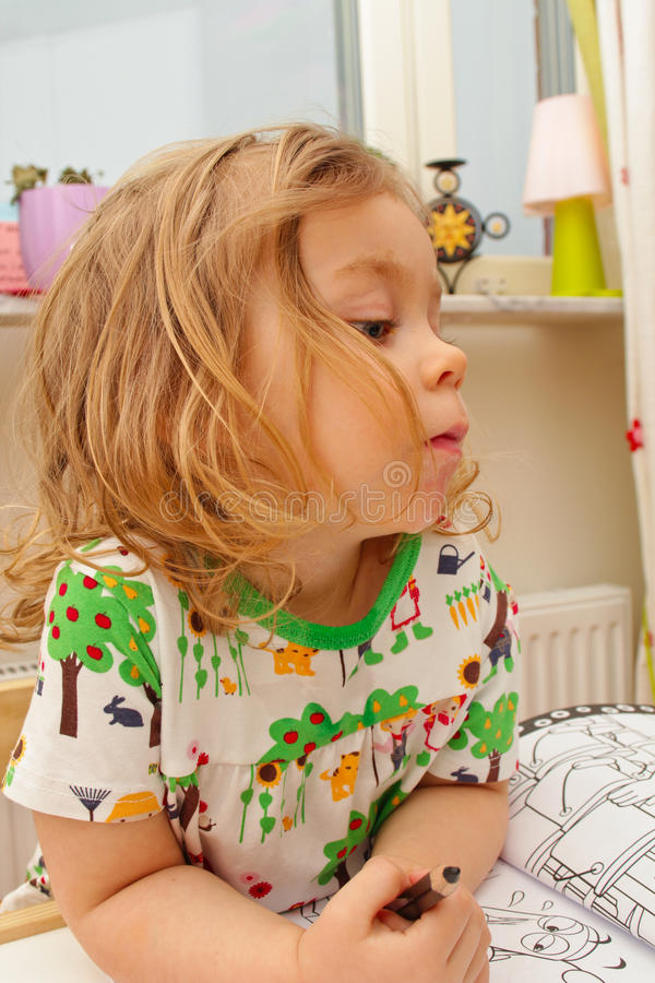 Young girl drawing royalty free stock image