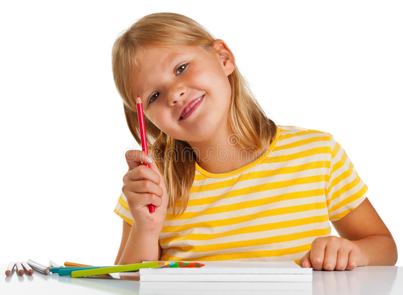 Young Girl Drawing Royalty Free Stock Images