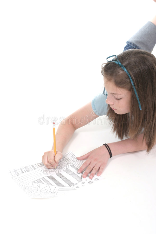 Young Girl Drawing and Writing 4 royalty free stock images
