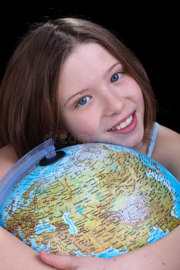 Download Young Girl Dreaming About A Trip Stock Image - Image of earth, learning: 23137909