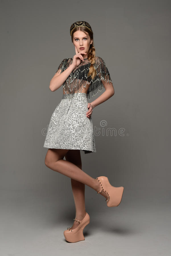 Young girl. In the dress a la rus stock photography