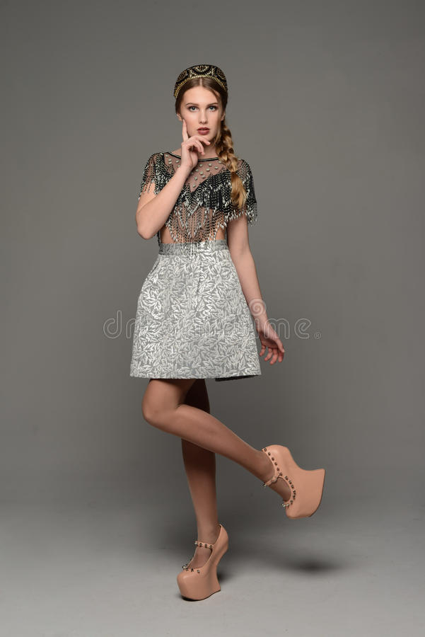 Young girl. In the dress a la rus royalty free stock photo