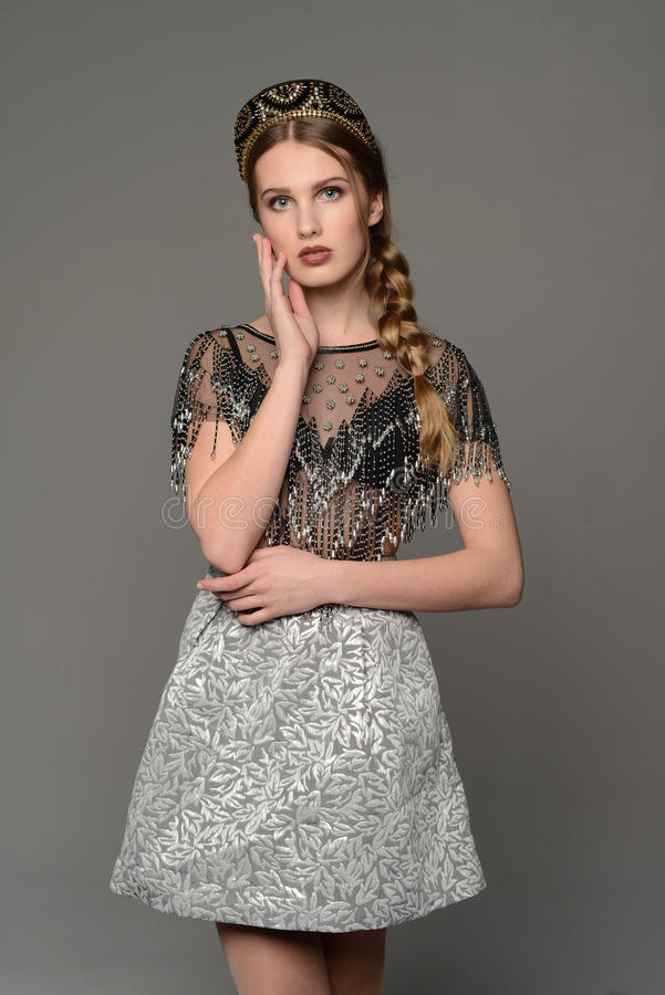 Young girl. In the dress a la rus stock photo