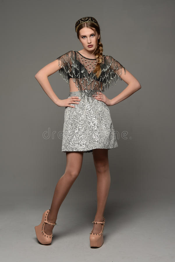 Young girl. In the dress a la rus stock image