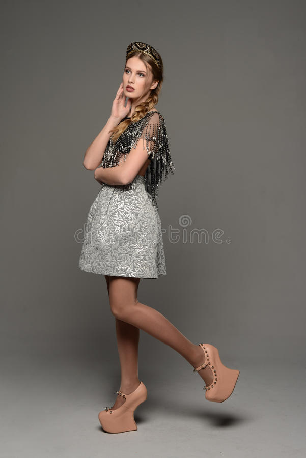 Young girl. In the dress a la rus stock images
