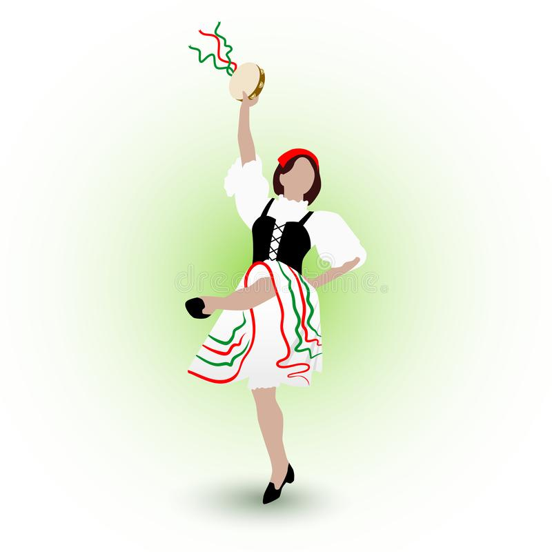 A young girl dressed in a national costume dancing an Italian tarantella with a tambourine royalty free illustration