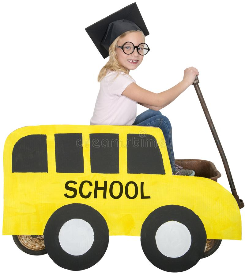 School Bus, Children, Play, Isolated stock image