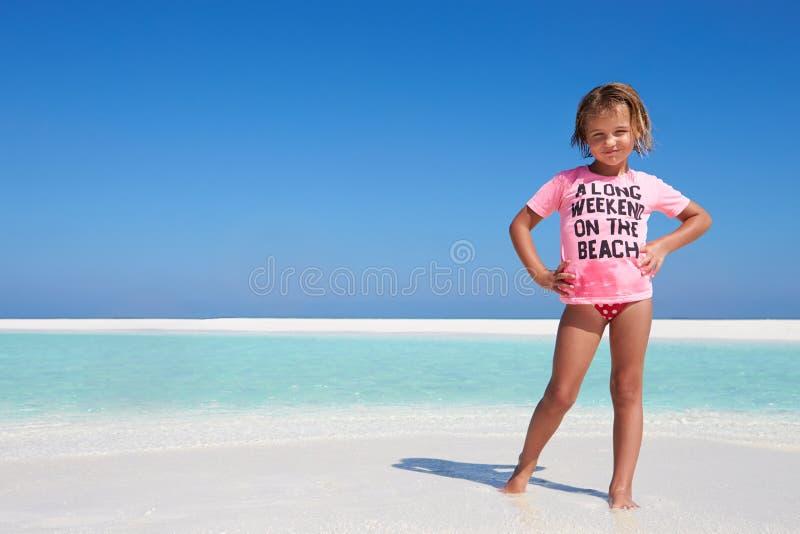 Young Girl Enjoying Beach Holiday stock photography