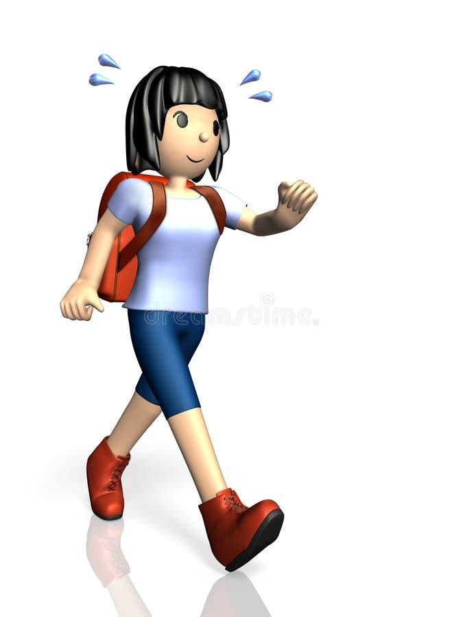 Download Young Girl Is Enjoying Hiking. Stock Illustration - Illustration: 32303655