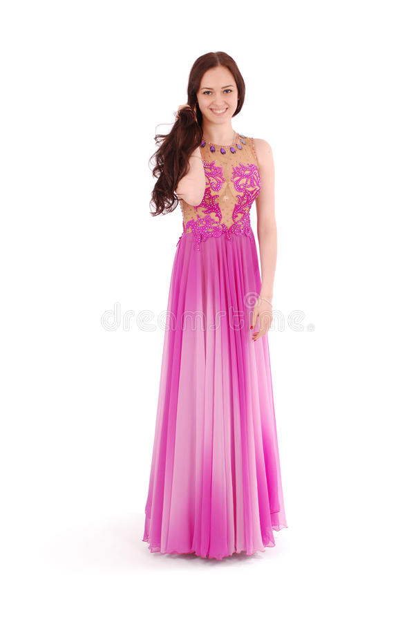 Young girl in evening dress royalty free stock images