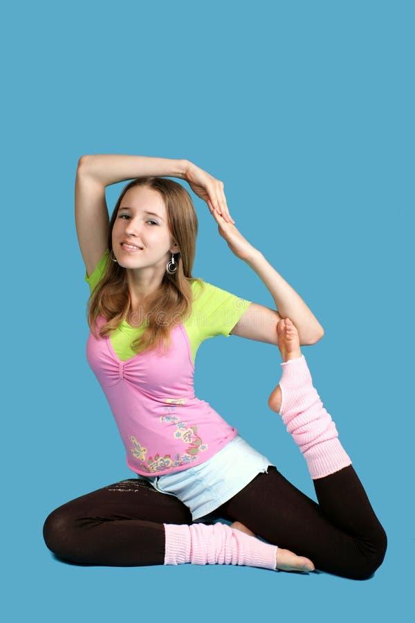 Young girl exercises yoga stock photo. Image of muscle ...