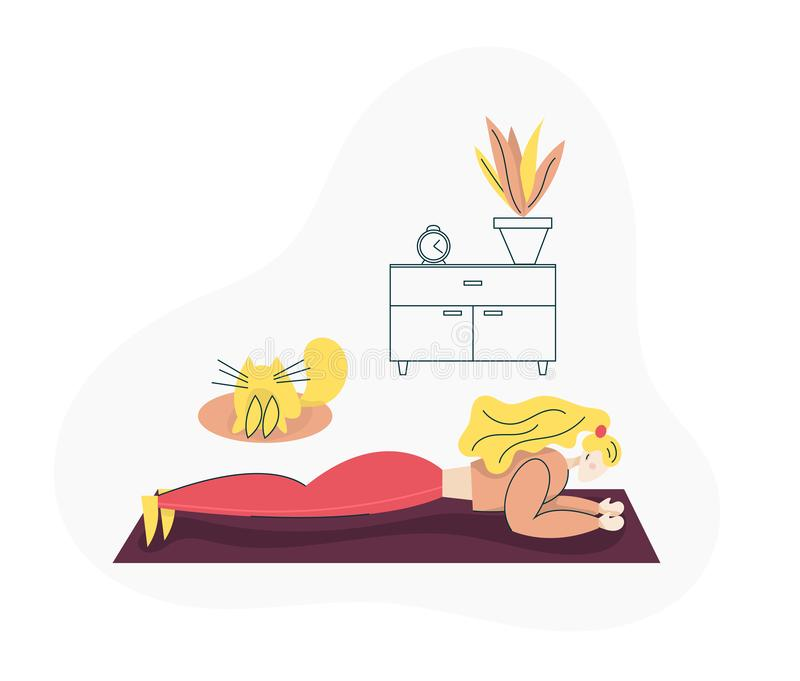 Young girl exercising Fitness at Home. Sport Healthy lifestyle concept with Fit Woman Doing Pilates, Training. Isolated flat. Trendy cartoon modern style royalty free illustration