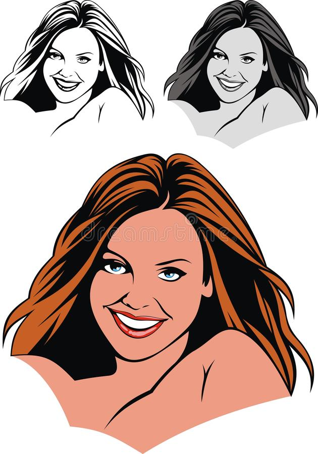 Young girl face. Isolated on the white background vector illustration