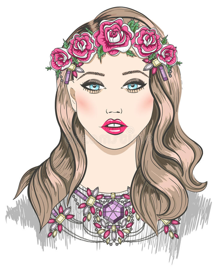Download Young Girl Fashion Illustration. Girl With Flowers Stock Vector - Illustration of fashion, blond: 34974693