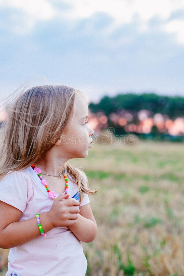 Young girl in field royalty free stock image