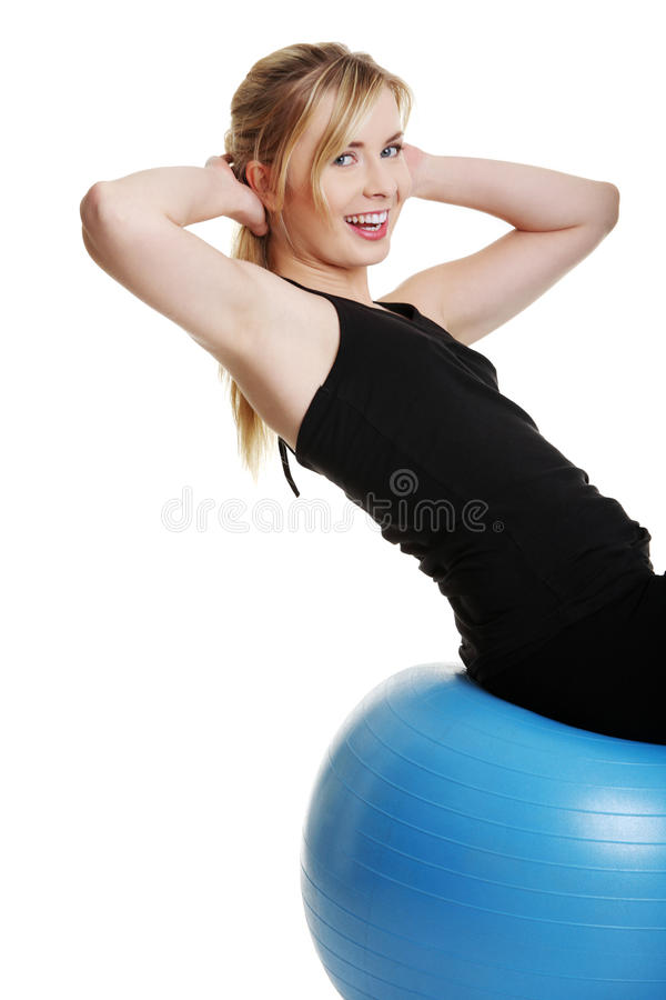 Young Girl With Fit Ball Royalty Free Stock Photography