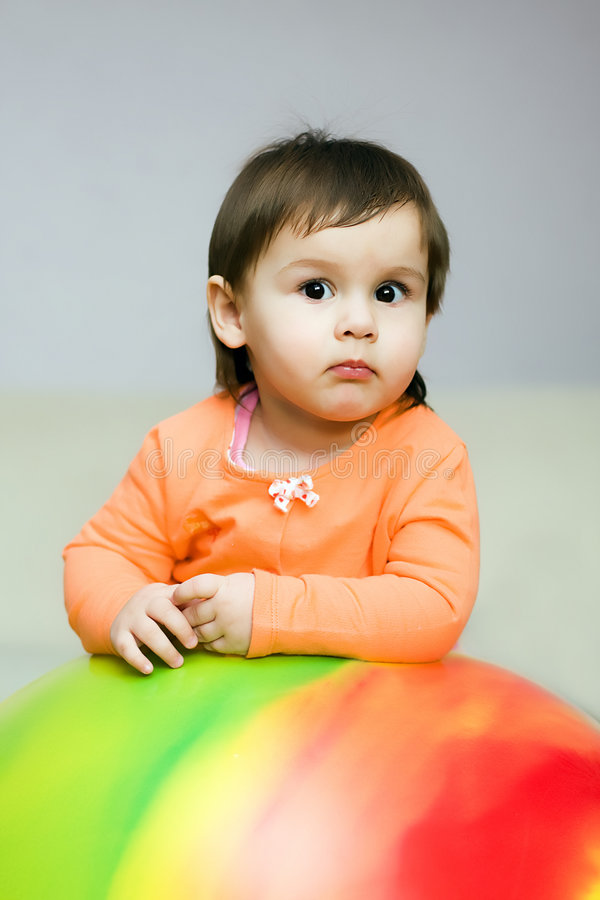 Young girl on fitball royalty free stock photos