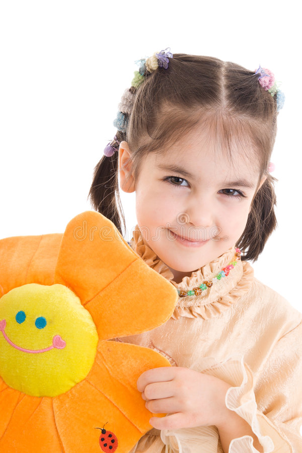 Download The Young Girl With Flower Isolated On A White Stock Photo - Image of cute, children: 5133508