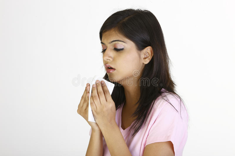 Young girl with flu stock photo