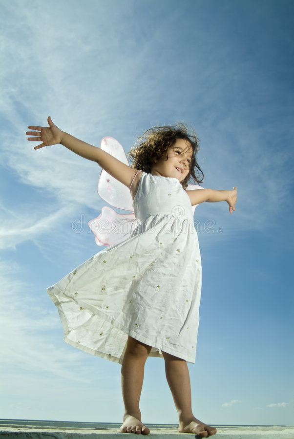 Download Young girl flying stock photo. Image of happiness, jolly - 3485528