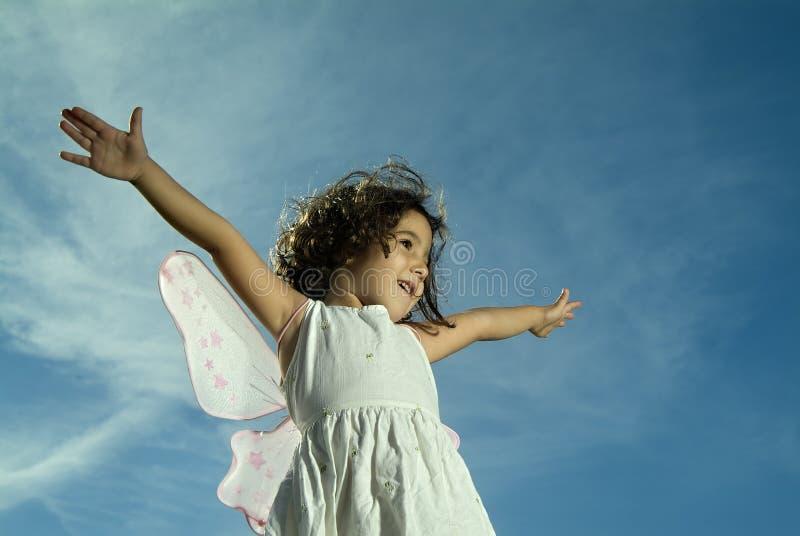 Download Young girl flying stock image. Image of childhood, fragility - 3485531