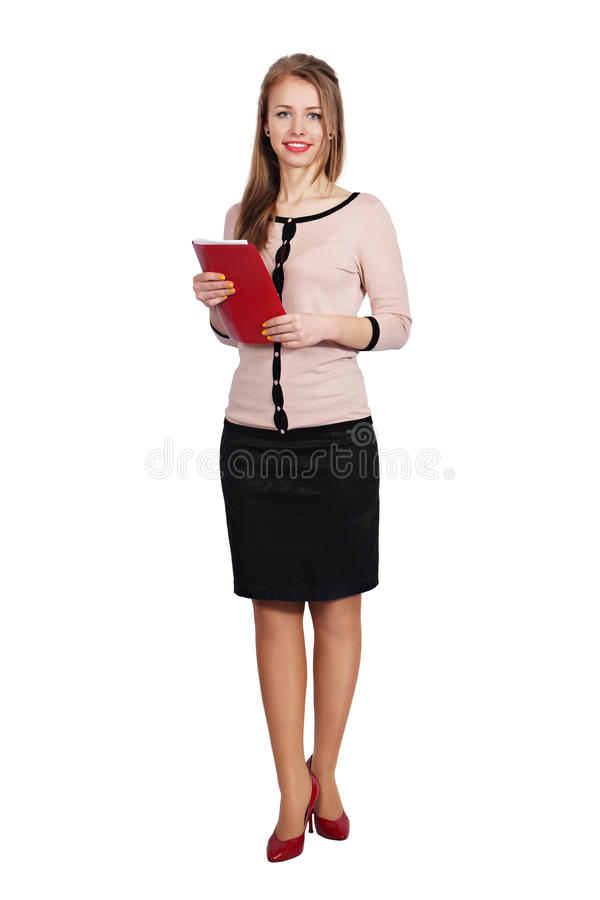 Young girl with a folder in hands stock photos