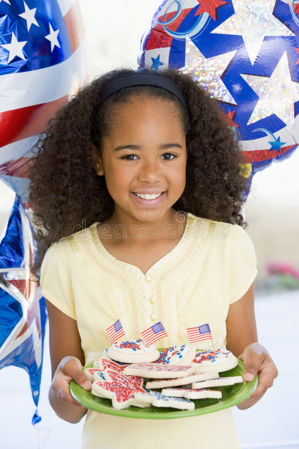 Young girl on fourth of July royalty free stock image