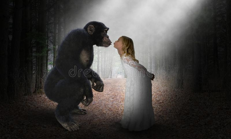 Girl Kiss Chimp, Nature, Love, Hope. A young girl gives a kiss to a chimp, chimpanzee, or ape. Abstract concept for peace, hope, love, nature, and wildlife royalty free stock images