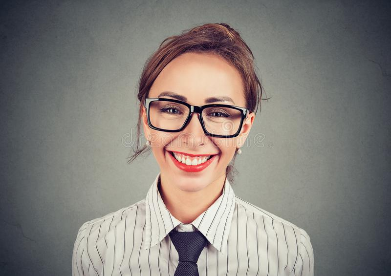 Cheerful pretty woman in glasses royalty free stock photo