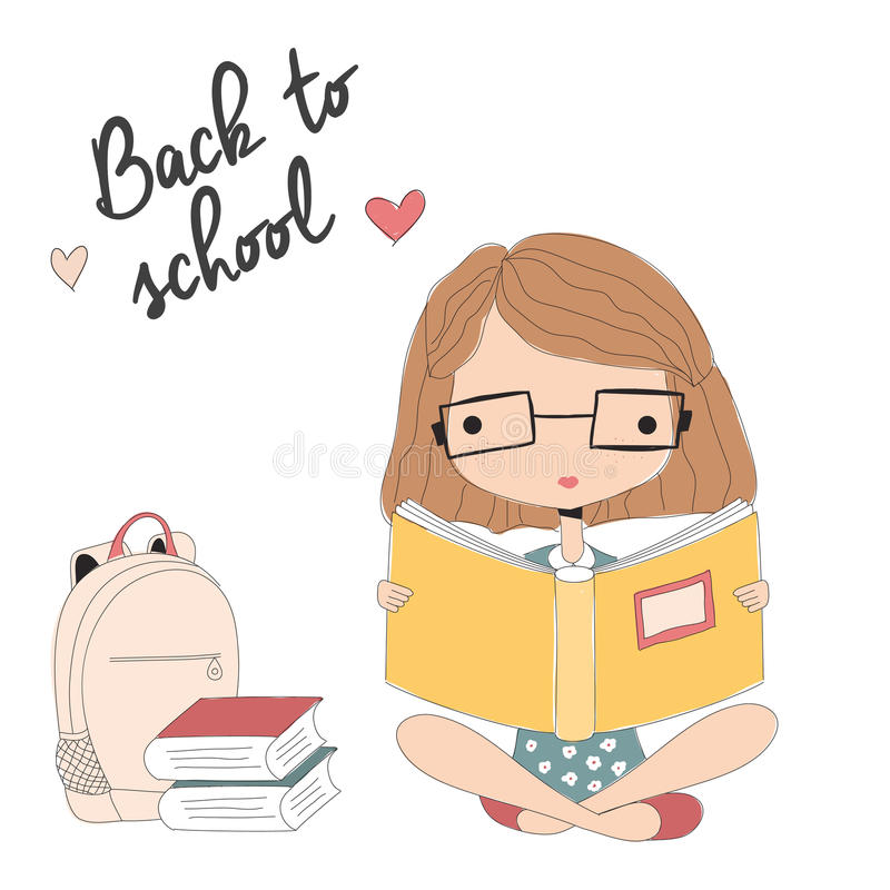 Young girl with glasses reading a book, back to school royalty free illustration