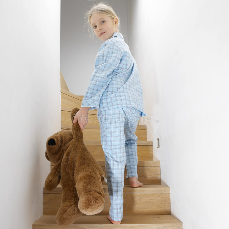 Download Young girl going to bed stock image. Image of blond, teddy - 496737