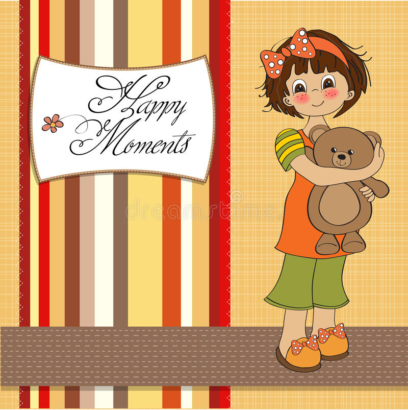 Download Young Girl Going To Sleep With Her Favorite Toy Stock Vector - Image: 23755890