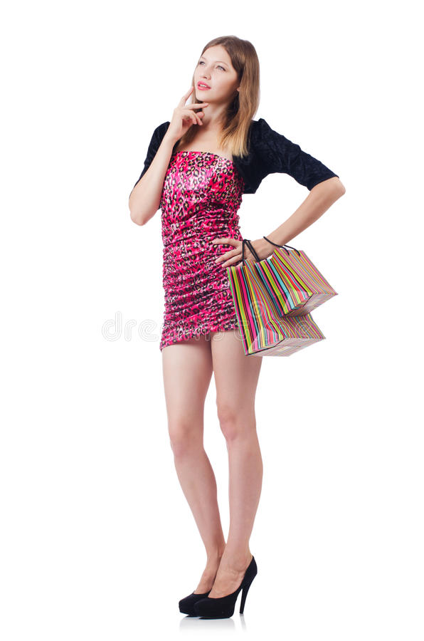 Young Girl After Good Shopping Royalty Free Stock Photo