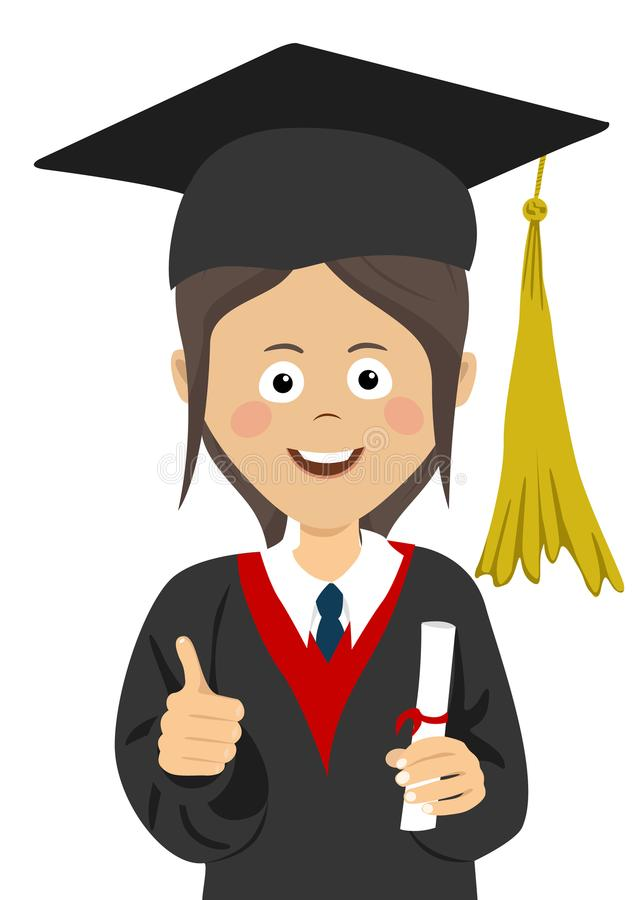Young girl graduate student in graduation cap and mantle with a university diploma in her hand giving thumbs up stock illustration