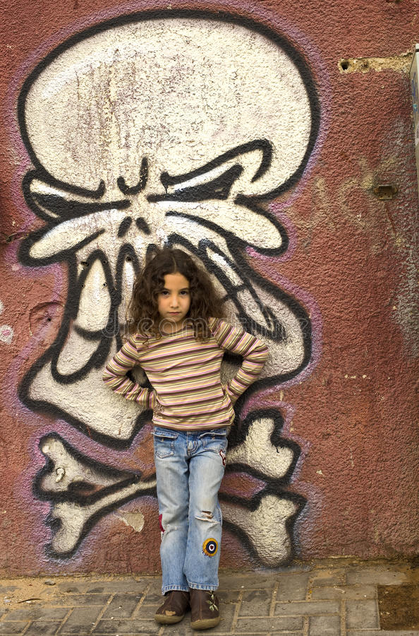 Download Young girl grafitti wall stock image. Image of hair, casual - 12410123