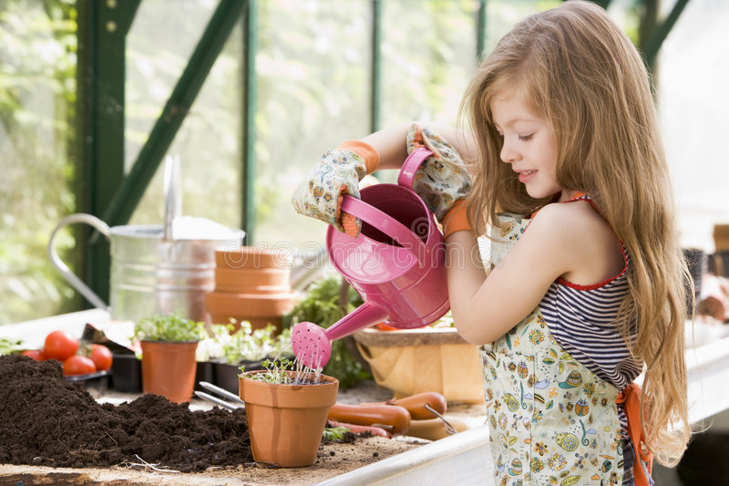 Young girl in greenhouse watering potted plant stock photography