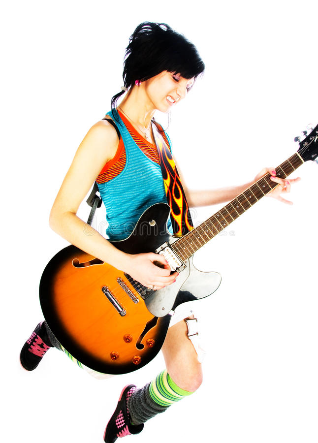 Young girl with a guitar. On a white background stock images