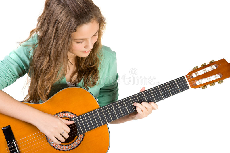 Young girl with guitar. stock images